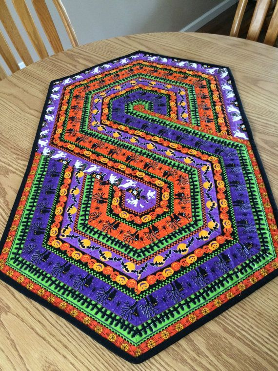 Halloween Frenzy Quilted Table Topper Runner By