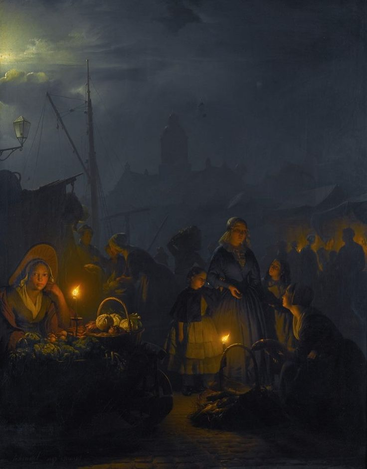 """https://www.facebook.com/MiaFeigelson """"Dutch market by moonlight"""" (1853) By Petrus van Schendel, from the Netherlands (1806 - 1870) - oil on canvas; 93 x 78 cm; 36½ by 30¾ in. - © Sold through Sotheby's, London. May 22, 2014 for £ 76,900; $ 129,862- Lot 30 Provenance:  Acquired by the grandparents of the present owner prior to 1939; thence by descent http://www.sothebys.com/en/ https://www.facebook.com/sothebys Petrus van Schendel was a Dutch Romantic painter, etcher and draughtsman."""