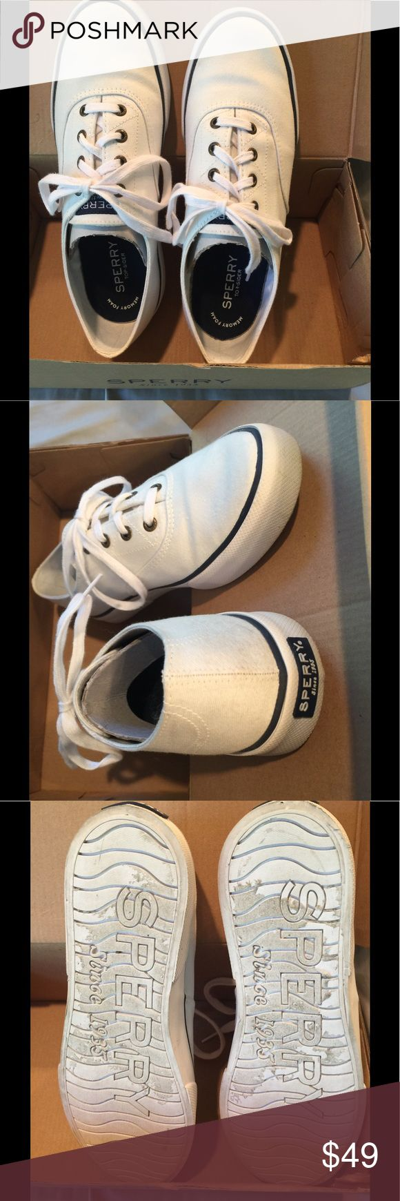 White Sperry Top-sliders Almost new, worn one time, too small for me😞 A few very light scuffs of canvas but otherwise pristine. Ships in original box and packaging. Perfect, versatile shoes for summer. Sperry Top-Sider Shoes Sneakers