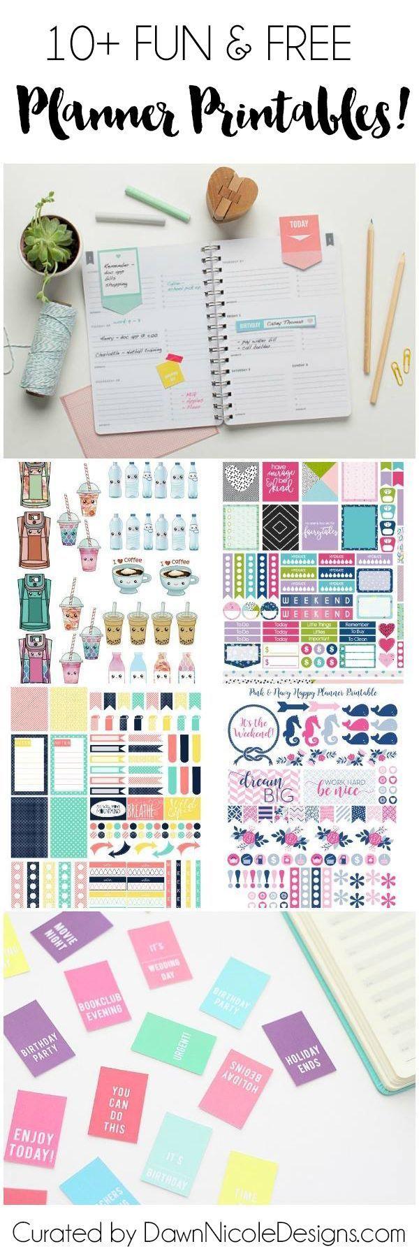 10 Pretty Planner Printables | http://dawnnicoledesigns.com