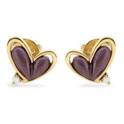 18ct with Purple Gold and Diamond Heart Shaped Stud Earrings