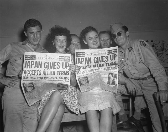 "VJ day - On September 2, 1945, a formal surrender ceremony was performed in Tokyo Bay, Japan, aboard the battleship USS Missouri. In Japan, August 15 usually is known as the ""memorial day for the end of the war"" the official name for the day, however, is ""the day for mourning of war dead and praying for peace."""
