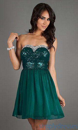 Strapless Emerald Green Short Sequin Dress At