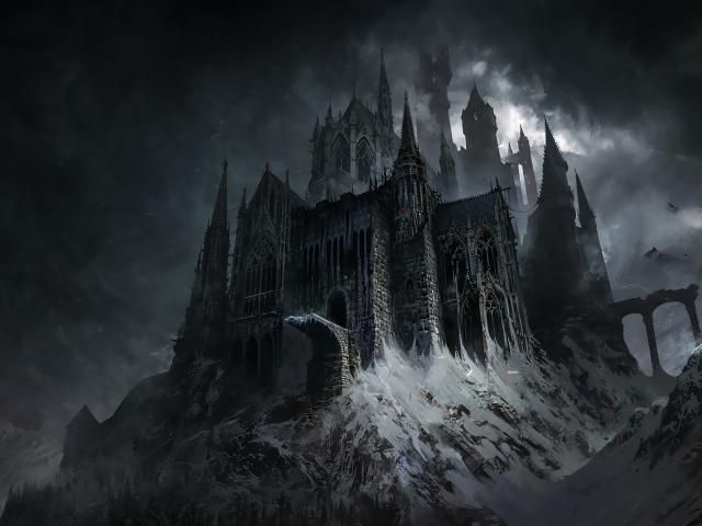 Fantasy Dark Darkfantasy Building Mountains Snow Castle Evil Architecture Evil Castle Dark Fantasy In 2020 Fantasy Castle Dark Fantasy Fantasy Art Landscapes
