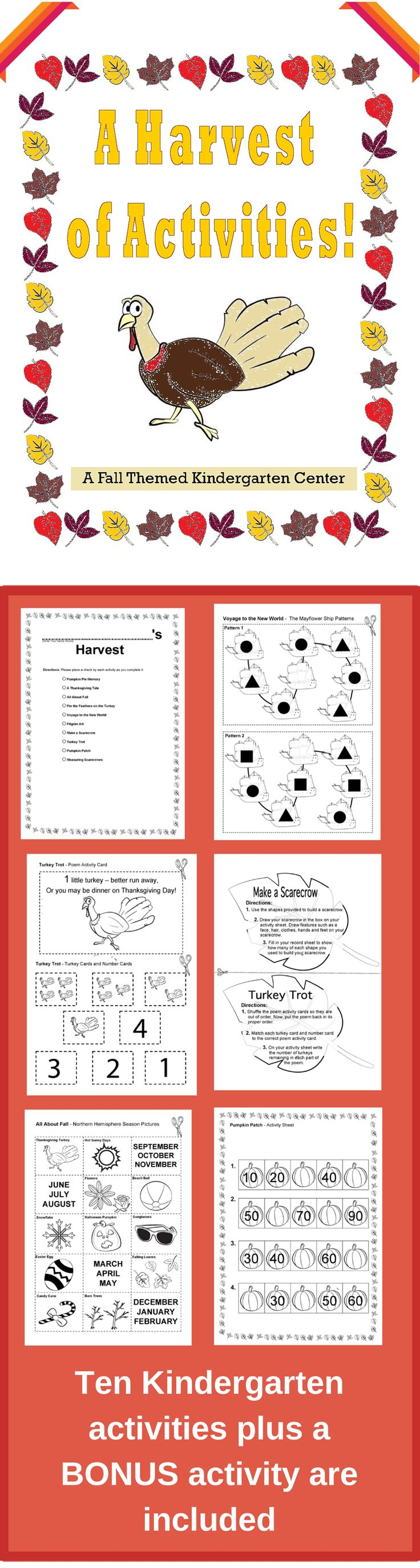 These activities can be used as centers, file folder games or as a fun alternative to regular homework. Each activity includes a task card, a hands-on element and an assessment piece. A record sheet is also included to help with center management! http://www.teacherspayteachers.com/Product/Fall-Kindergarten-Center-A-Harvest-of-Activities-851060