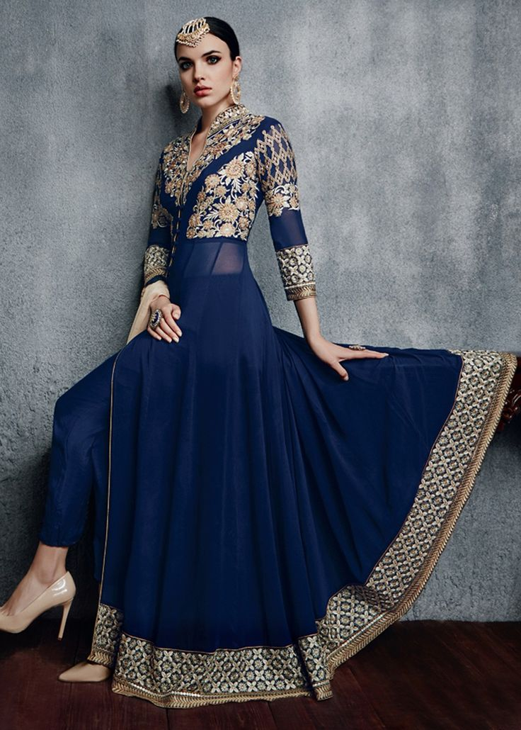 Buy Navy Blue Abaya Style Georgette Salwar kameez with Chiffon Dupatta Online