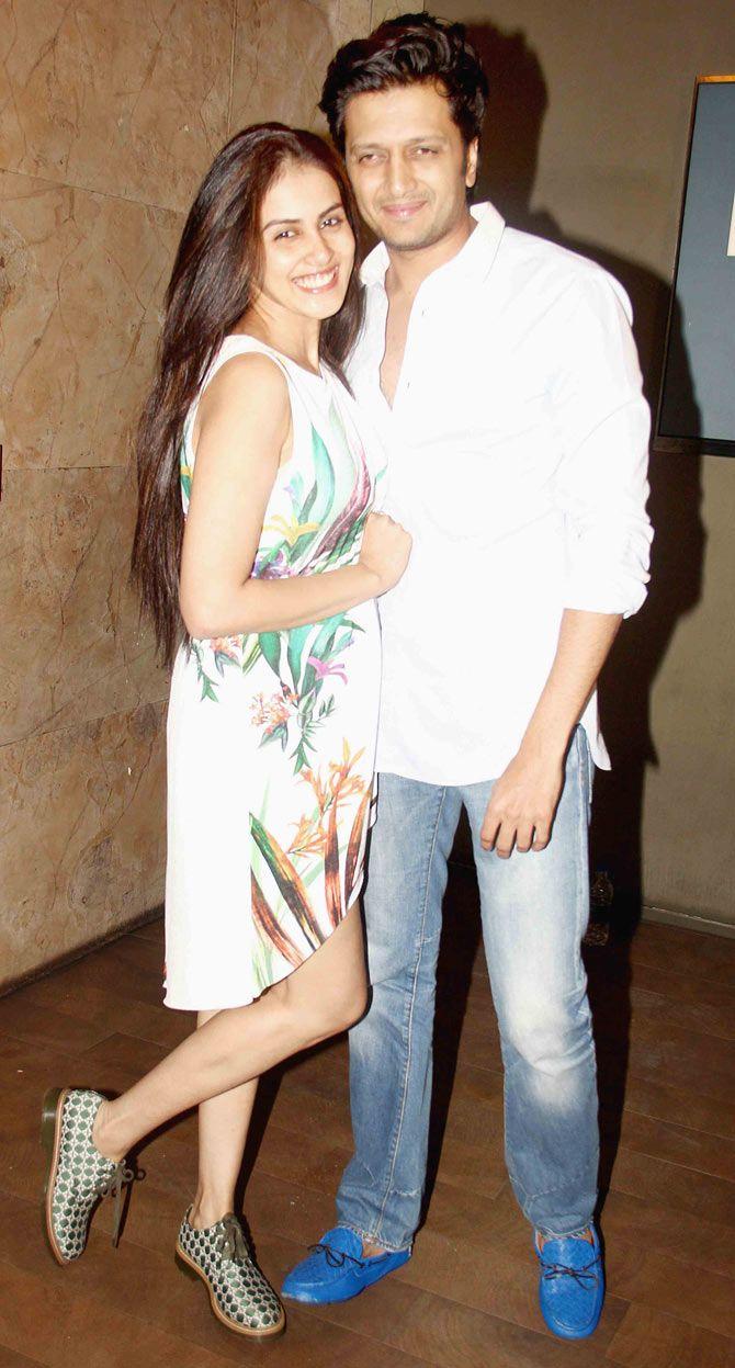 Riteish Deshmukh and Genelia D'Souza Deshmukh at screening of 'Tanu Weds Manu Returns'. #Bollywood #Fashion #Style #Beauty #Handsome
