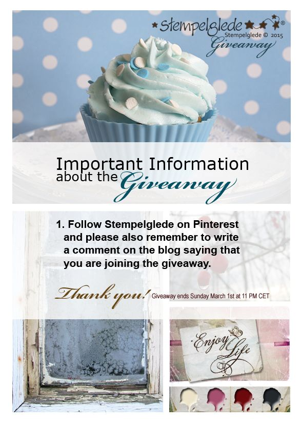 Important Information about the Giveaway! I just wanted to give a small reminder that in addition to following Stempelglede on Pinterest, you also need to comment below the giveaway blog post: http://stempelglede.typepad.com/stempelglede_design_team_/2015/02/giveaway-and-challenge-1.html to let me know you are entering the giveaway. Thank you!
