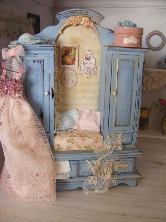 12th scale shabby chic ladies filled  wardrobe by shabbychicminis, $125.00