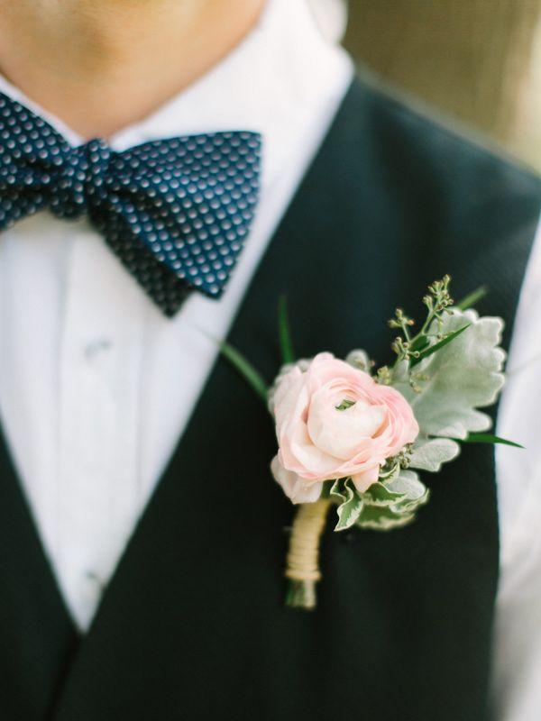 pink ranunculus boutonniere, photo by When He Found Her http://ruffledblog.com/brooklands-farm-wedding #grooms #bowties