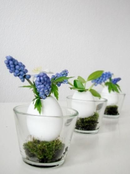 Easter Egg Vase: drain then wash eggs with antibacterial soap, air dry, place in votive holder with moss from craft store.