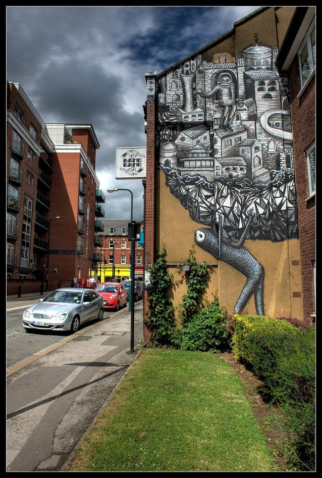 You can spot awesome Phelgm street art all over the city. This one is a particular favourite of ours, situated on the side of Bang Bang Vintage just off Division Street.