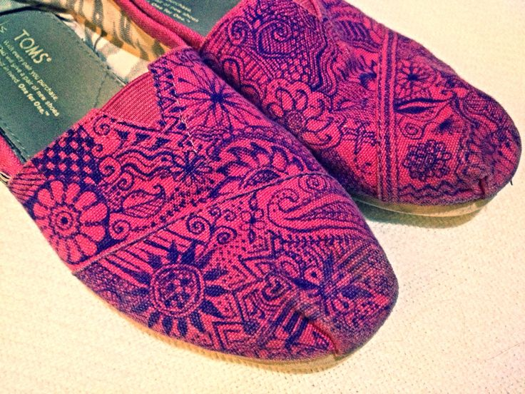 Pink newly decorated Toms