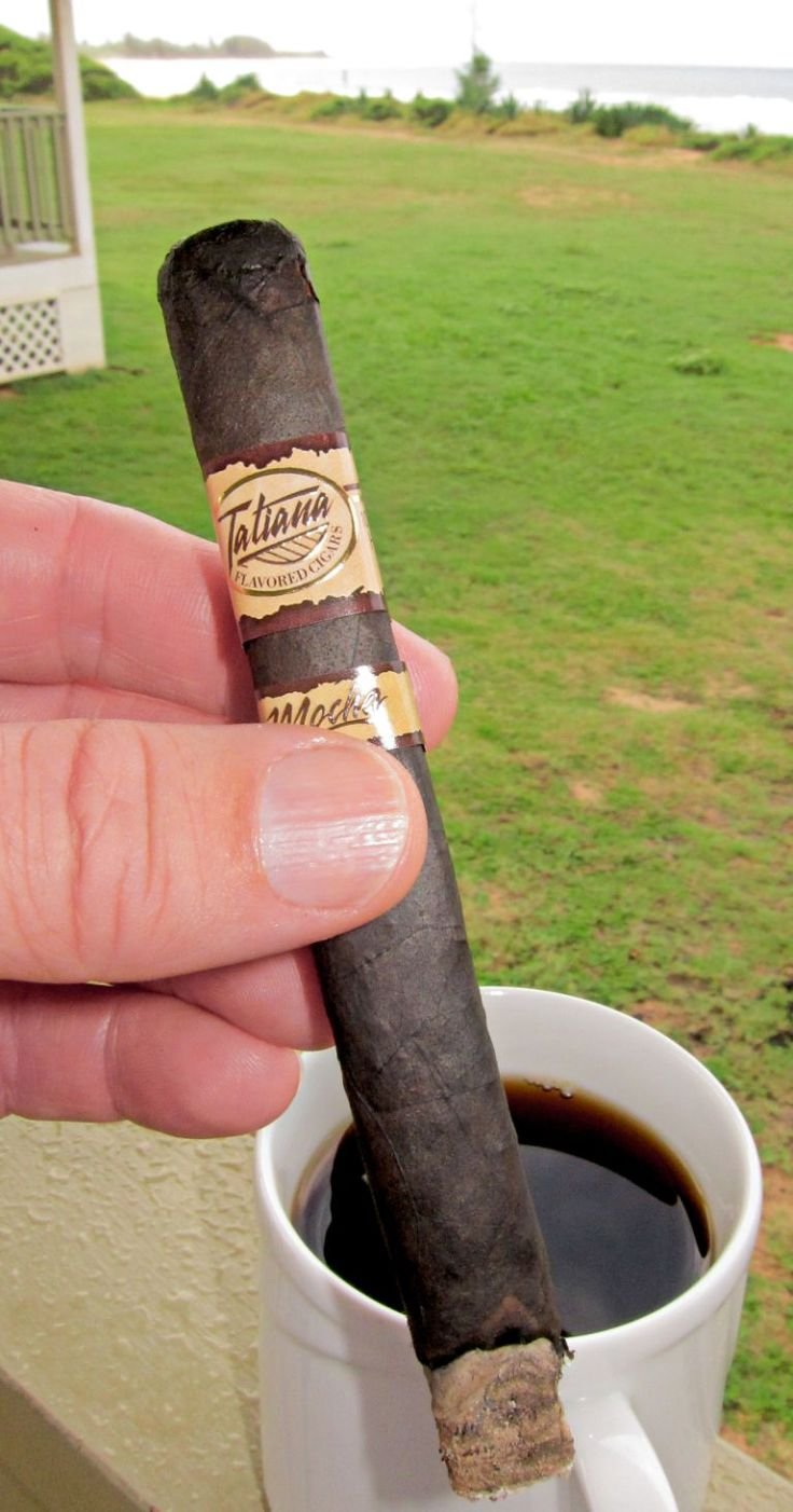 Tatiana Mocha,  Caramely, 6x50.  My favorite breakfast cigar.  Goes very well with coffee.  Paired with Kona Coffee.