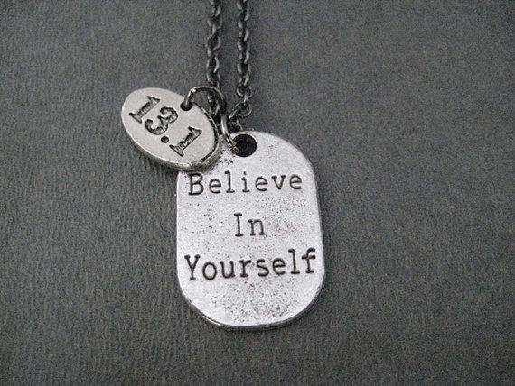 BELIEVE IN YOURSELF 13.1 Half Marathon Pewter by TheRunHome, $20.50