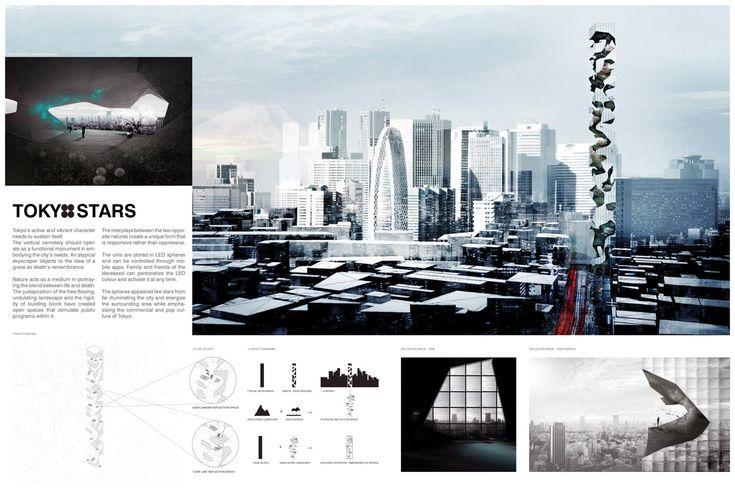 """ TOKYO STARS "" - Tokyo Vertical Cemetery competition finalist"