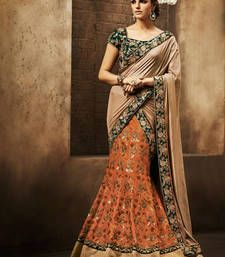 Buy Beige and Orange embroidered art_silk lehenga saree with blouse Online