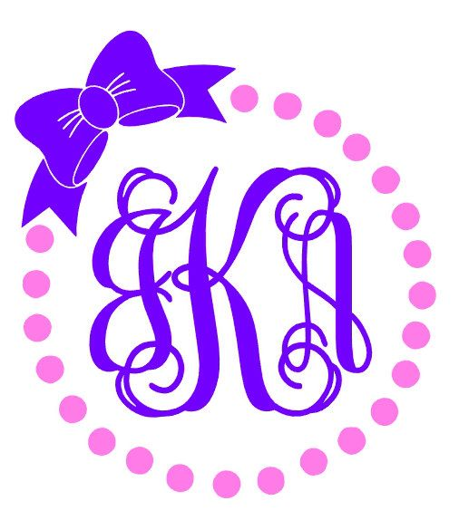 Dot Circle with Bow Monogram Decal | Two Tone by CameoandCompany on Etsy https://www.etsy.com/listing/251497737/dot-circle-with-bow-monogram-decal-two