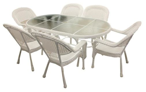 Includes: (6) chairs and (1) oval dining table with tempered glass top Product Features: Highest quality, heaviest gauge extruded tube with reinforced internal walls for extra support Solid cast frame components are individually formed through the ancient art of sand casting Hand-welded using full circumference 360 degree heli-arc welding technology Pre-inspected for strength and appearance Hand sanded and polished prior to finishing Finish is made from the highest quality power paints that…