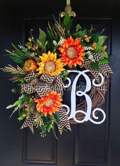 NEW! Fall Wreath for Door, Monogram Wreaths, Fall Wreaths, Burlap Wreaths…