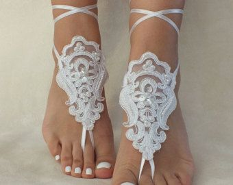 white lace barefoot sandals 6 Colors FREE by LaceBarefootSandals