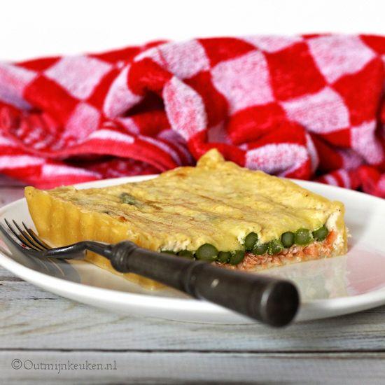 Quiche met zalm en groene asperges recept