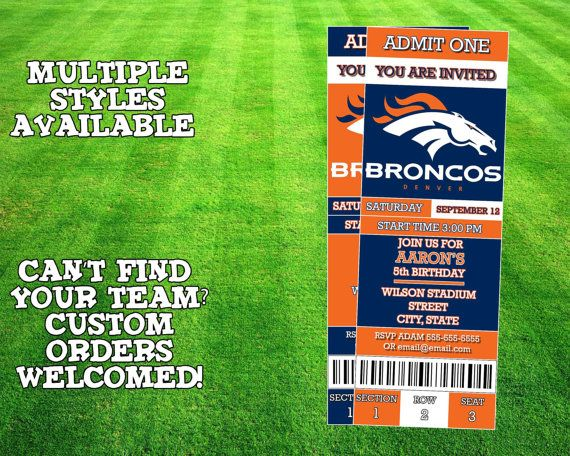Denver Broncos Ticket Invitation by AWilsonDesigns on Etsy