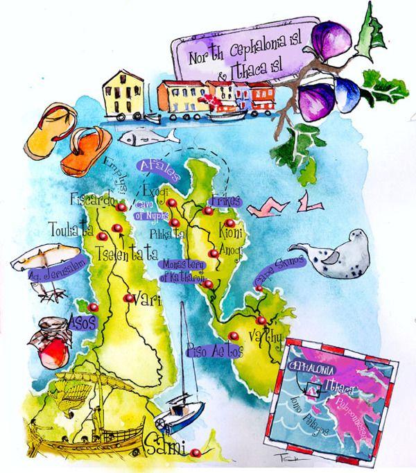Art maps of Greek islands by Eleni Tsakmaki - Ithaca and Cephelonia