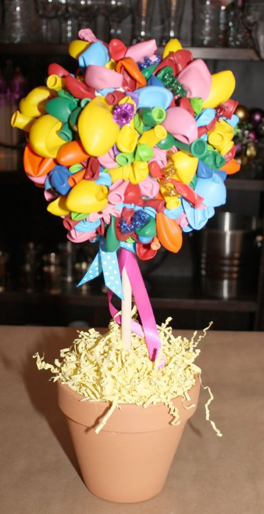 balloon birthday party topiary