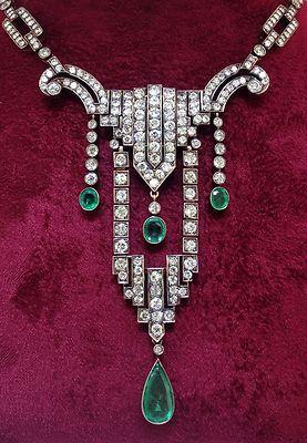 Art Deco Yellow Gold Platinum Necklace with Emerald 5 00ctw Diamond 15 00ctw | eBay
