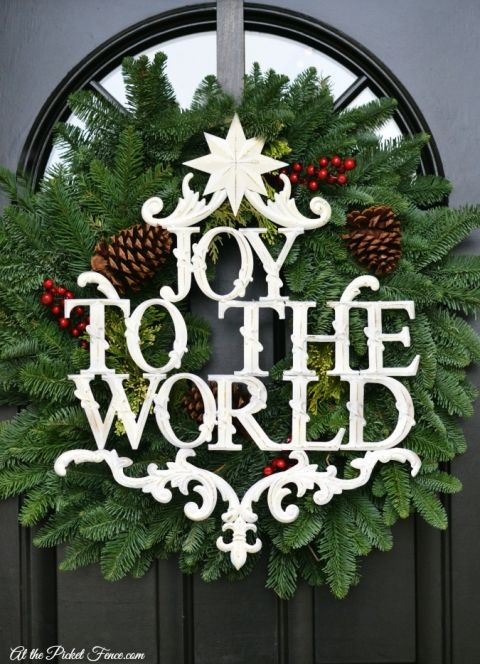 Christmas front door wreath and joy to the world sign