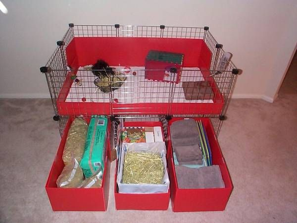 Slide out under cage storage bins i used the same for Plastic bin guinea pig cage