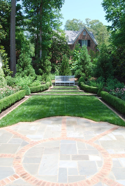Beautiful combination of hardscape and lush green lawn on ...