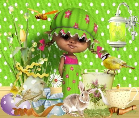 Puupet in Green - puppet, green, baby, bird