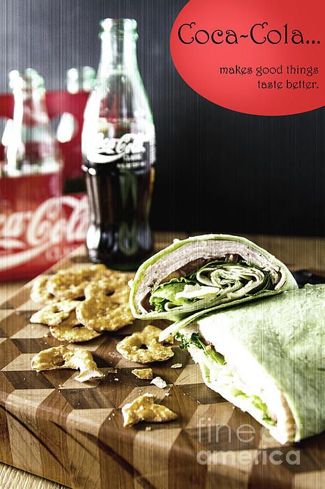 "Picture if you will back to 1956 when this Coca-Cola ad appeared on billboards and numerous commercials ""Coca-Cola makes things taste better"", this is a perfect ad for an old time photo with a modern twist in the present day. Image portray a delicious spinach wrap bursting with thinly sliced turkey, provolone cheese and leaf lettuce all layered together to create this awesome sandwich. The lunch sides include pretzel chips and a bottle of coke. Food Photography, Southeastern, WI"