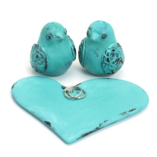 Antique_Look_Turquoise_Love_Birds_Wedding_Cake_Topper _ Aqua Wedding Cakes - Bing Images