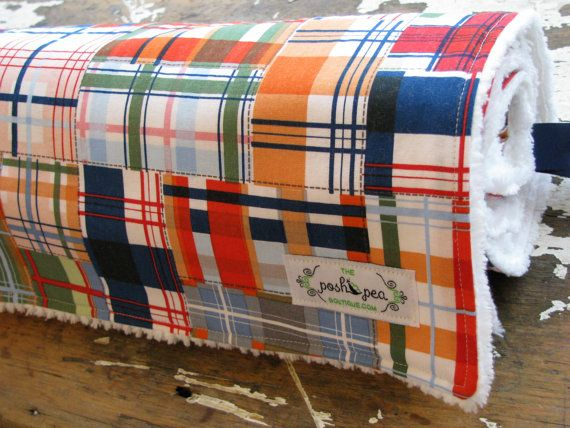 Baby Blanket Chenille or Minky -  Nautical Patchwork Plaid - Baby Boy - Michael Miller Going Coastal on Etsy, $42.00