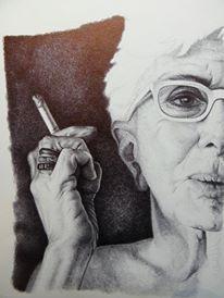 Lina Wertmuller disegno a BIC su carta, 24x33cm Roma 2010