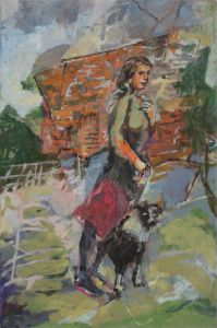 "'Woman and Dog on Solid Ground"" 2015  45.7 cm x 30.4 cm Oil on Linen"