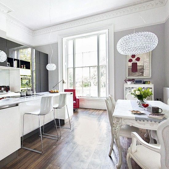 Kitchen-diner with period dining area and modern cooking space | Kitchen decorating | Ideal Home | Housetohome.co.uk