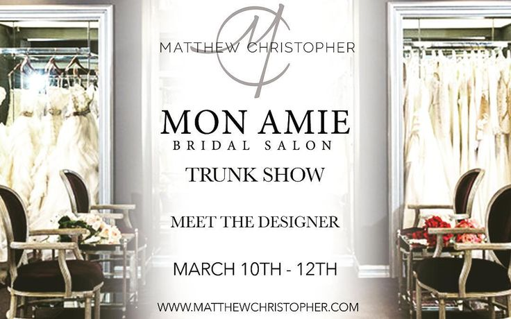 Matthew Christopher and the 2017 Breathless collection will be at @monamiebridalsalon  this weekend for what is sure to be a fabulous trunk show! Make your appointments at the link below or by calling 714.546.5700 ASAP because this is one event that is sure to fill up fast!  Appointments: http://ift.tt/2lTqzqy  #matthewchristopher #matthewbridal #monamiebridal #salon #trunkshow #breathless #engaged #weddinggown #weddingdress #bridetobe #bride #love #beautiful #classic