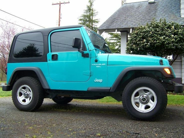 So cool - a turquoise Jeep