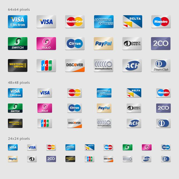 Credit card icon set, for those eccommerce #design projects. #ui
