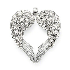 PE373-051-14.  Thomas Sabo.  Sterling Silver.  Classic.  White Syn. Zirconia.  The feather heart stands for total faith in true love and the willingness to protect it.  4.3 cm.
