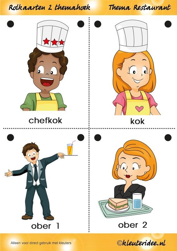 Rolkaarten 2 voor kleuters, thema restaurant, juf Petra van kleuteridee.nl, Restaurant role play cards 2,  free printable