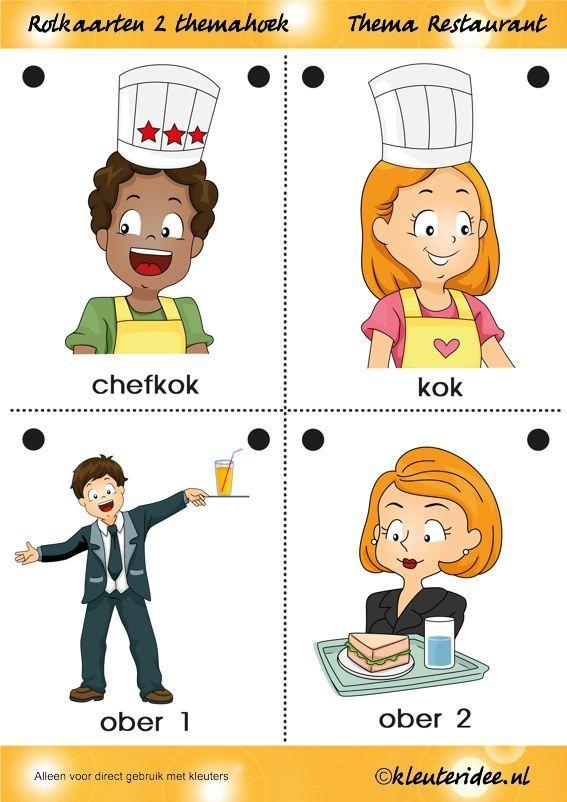 Rolkaarten 2 voor kleuters, thema restaurant, juf Petra van kleuteridee.nl, Restaurant role play cards 2, free printable.