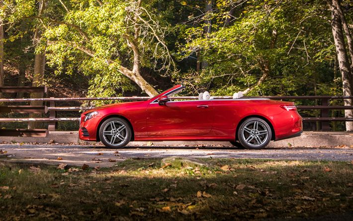 Download wallpapers Mercedes-Benz E400, 2018, red luxury cabriolet, side view, red e-class, 4Matic, Mercedes