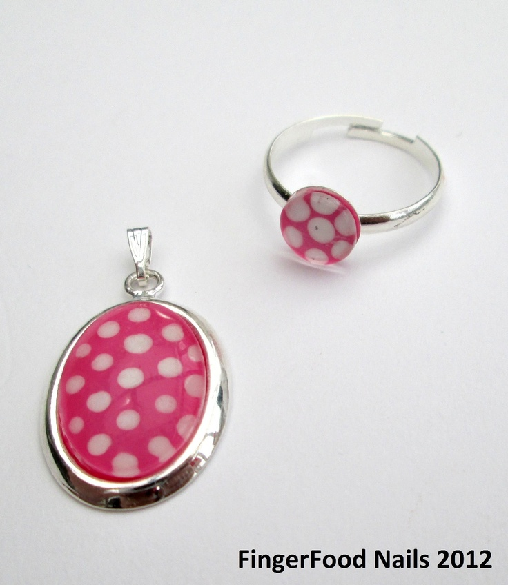 Custom set. Polka dot nail polish jewellery set for a little girl.    http://www.facebook.com/fingerfoodnail  https://twitter.com/fingerfoodnails