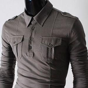 Mens slim pocket & strap T-shirts GRAY: Urban Chic, Chic Shirts, Awesome Shirts I D, Slim Pockets, Buttons, Boys Sigh, T Shirts Gray, Grey Shirts, But Slim