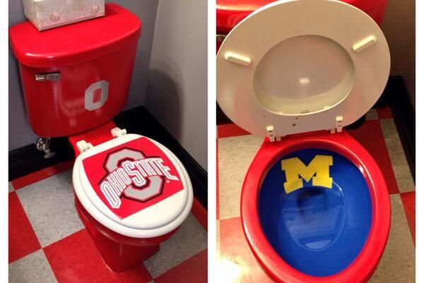 Ohio State vs. Michigan is the greatest rivalry in college football, and perhaps all of sports, which means fans of each school love to take shots at the other. This Buckeyes fan kicked things up a notch with a custom-designed toilet. | Repinned by @keilonegordon